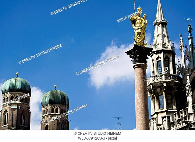 Germany, Bavaria, St Mary's Column, Towers of Church of Our Lady and city hall in Munich