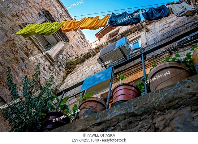 Laundry drying on a clothesline in the Old Town in Dubrovnik, Croatia