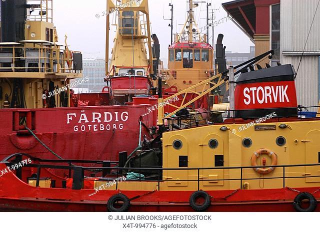 Ships in the harbour at Gothenburg Goteborg Sweden