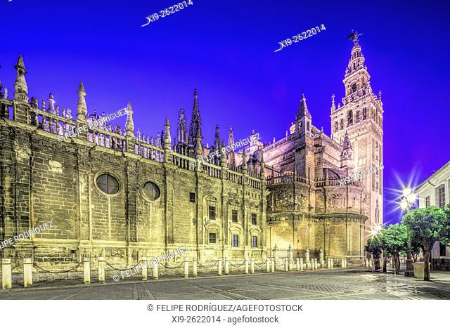 Southeast view of the Cathedral and Giralda Tower, Seville, Spain