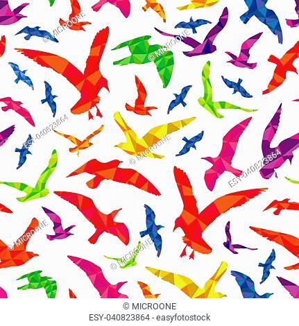 Colorful polygonal animal birds seamless pattern background. Vector flat illustration
