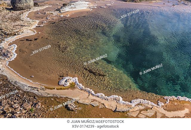Boiling waters. Geothermalism Geysir Golden Circle. Iceland
