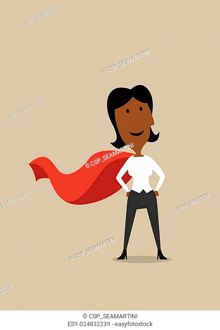 Hero cartoon businesswoman in red cape