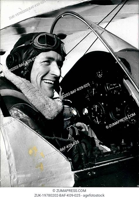 Feb. 02, 1978 - Flight into the Past: Early this morning flight Lieut David Cyster took off from dunsfold, surrey, to fly to Australia the hard way