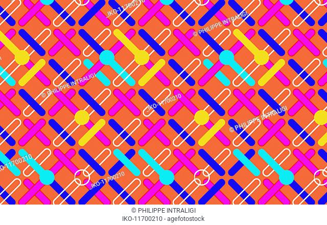 Abstract multi coloured crisscrossing repeat pattern