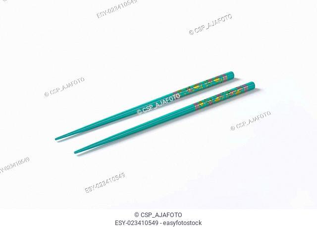 blue chopsticks