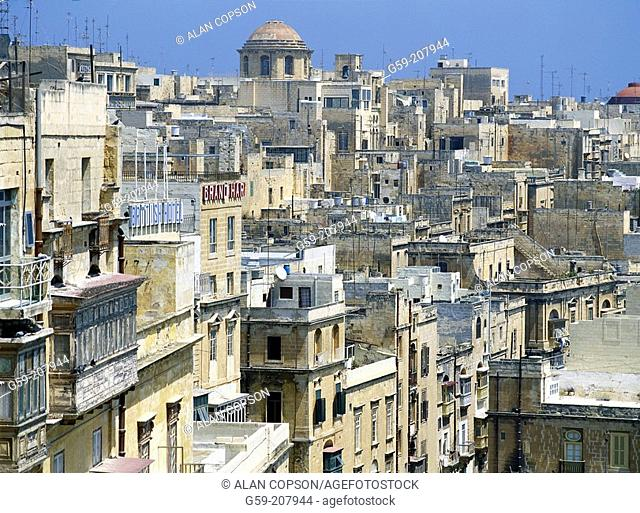 View from upper Barracca Gardens. Valletta. Malta
