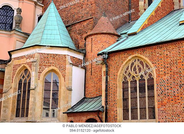 Detail of a side of the cathedral of Saint John Baptist in Wroclaw or Breslau, Poland
