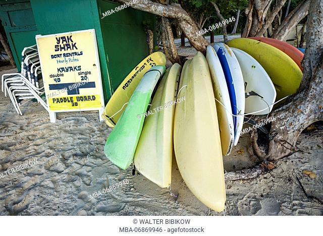 U.S. Virgin Islands, St. Thomas, Magens Bay, Magens Bay Beach, kayaks