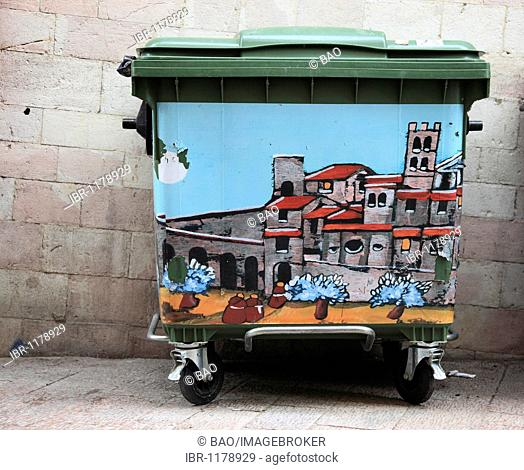 Bin with themes from Assisi, Assisi, Umbria, Italy, Europe