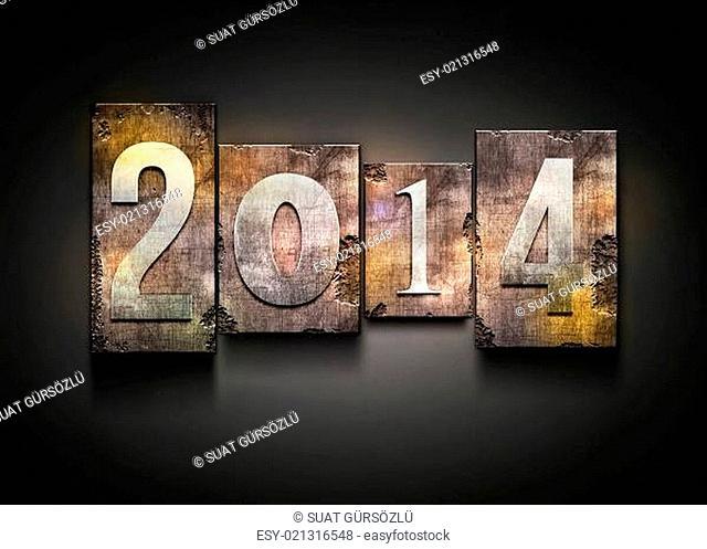 Year 2014 letterpress