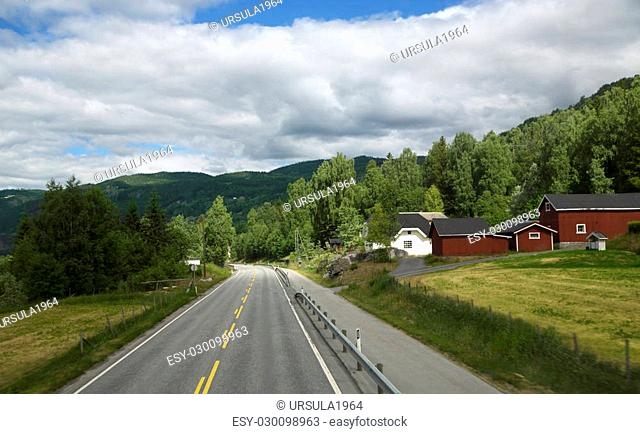 Scenic empty road among the dense forests of in beautiful mountains of Norway