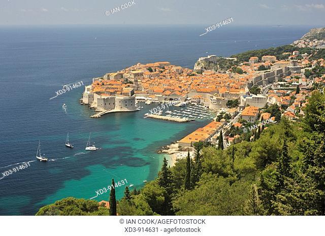 Dubrovnik, Old Town, Croatia viewed from Highway E65 Adriatic Highway