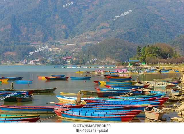 Colorful boats on Phewa Lake, Pokhara, Nepal