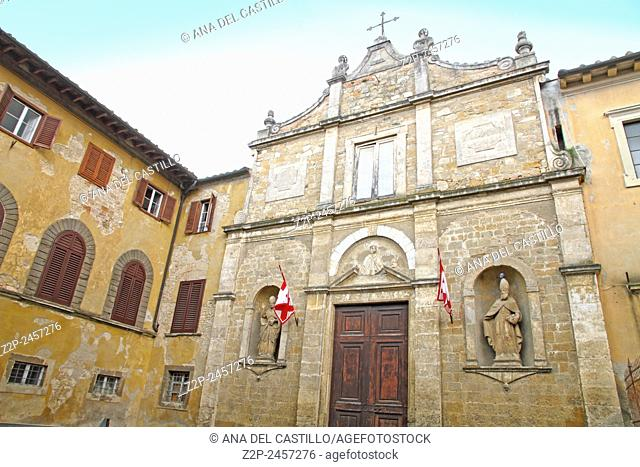 Church at the old town of Volterra in Tuscany, Italy