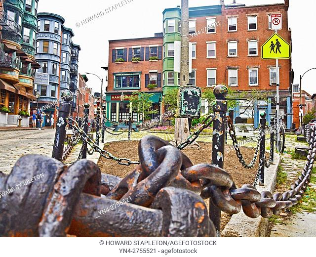 North Square, North End. Boston, Massachusetts. The North End is a largely Italian neighborhood in Boston with Victorian and Brownstone architecture