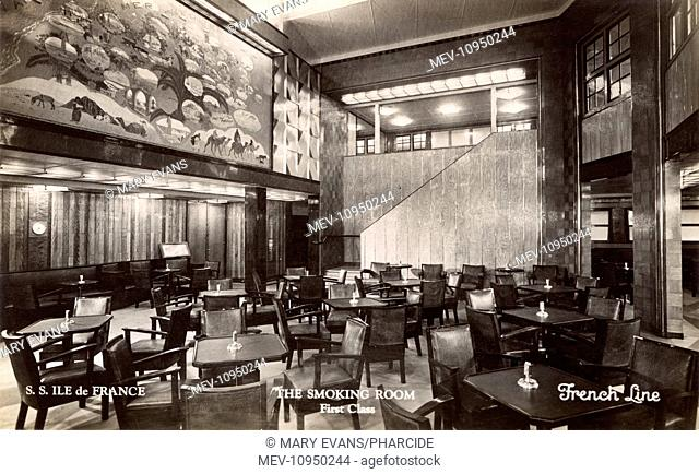 First Class Smoking Room on the SS Ile de France cruise liner, French Line