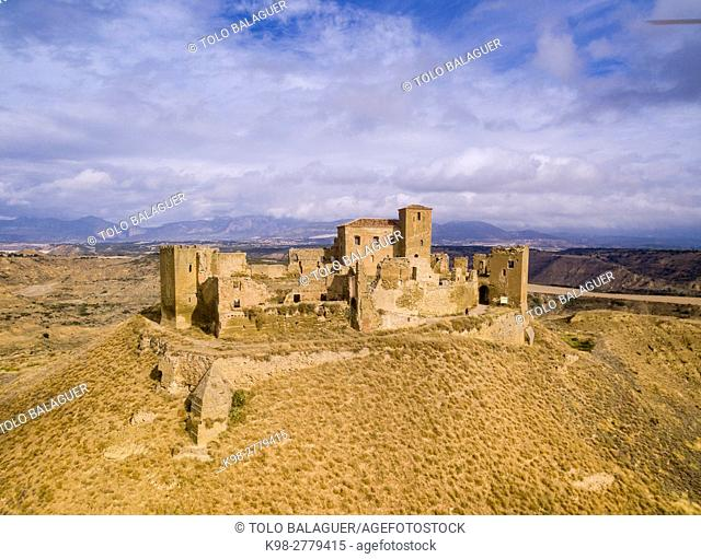 Castle of Montearagon, XI century, municipality of Quicena, Huesca province, declared National Monument in 1931, Pyrenean mountain range, Aragon , Spain
