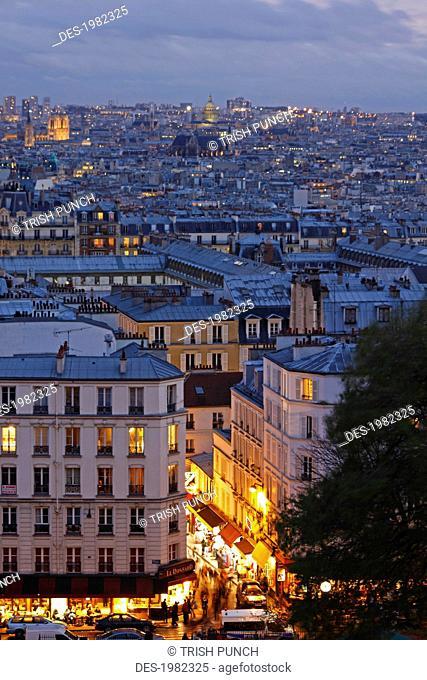 skyline of paris from montmartre, paris france