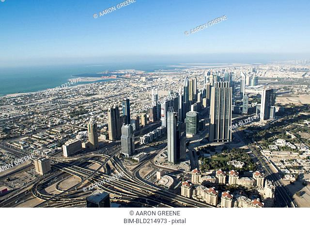 Aerial view of cityscape, Dubai, United Arab Emirates