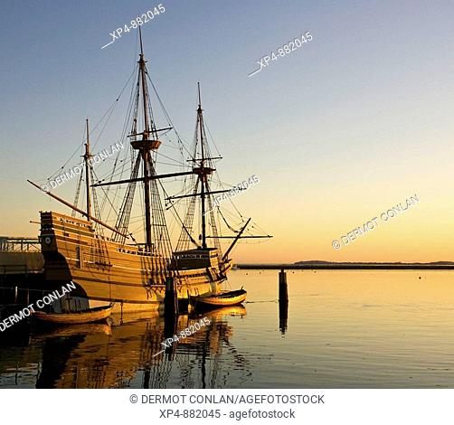 Replica of the ship used by the first Pilgrims to land in the Plymouth area of Massachusetts, New England in early morning light, USA