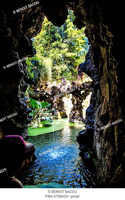 Exit of a cave in the garden of Pena, Sintra, Lisbon area, Portugal