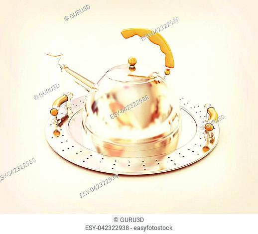 Chrome teapot on platter on a white background. 3D illustration. Vintage style