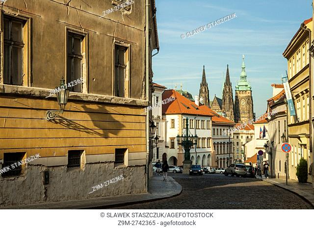 Autumn afternoon at Hradcany Prague, Czech Republic. St Vitus cathedral in the distance