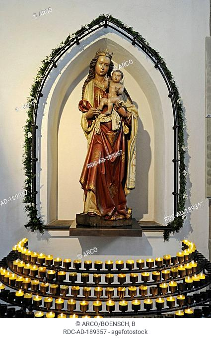 Statue of Blessed Virgin Mary, Probstei Church, Square of Hiroshima, Dortmund, North Rhine-Westphalia, Germany