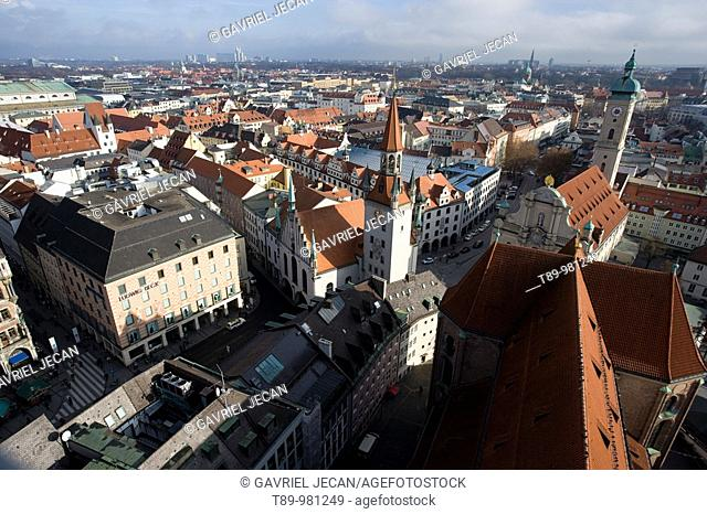 Germany, Bayern-Bavaria, Munich. View from New Town Hall tower