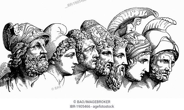 Heros of the Trojan War: Menelaus, Paris, Diomedes, Odysseus, Nestor, Achilles, Agamemnon, woodcut from 1880