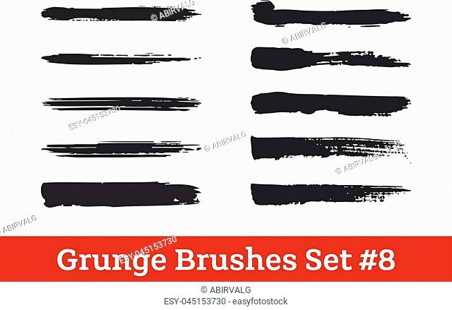 Grunge vector brushes collection. Black dry brush strokes isolated on white. Ready to use brushes added the the brush list in the file