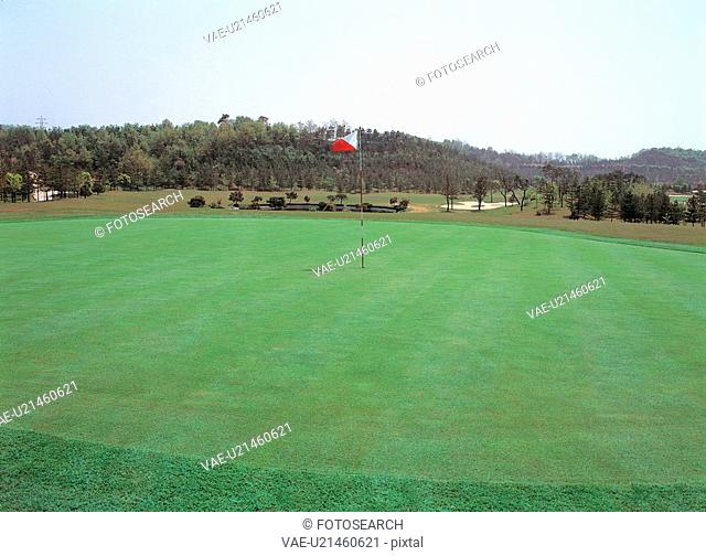 golf course, landscape, scene, scenery, field, view, nature