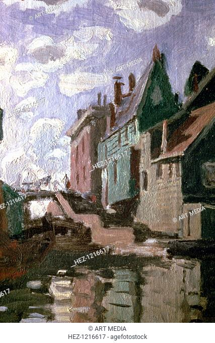 'Canal at Zaandam', detail, 1871. From a private collection