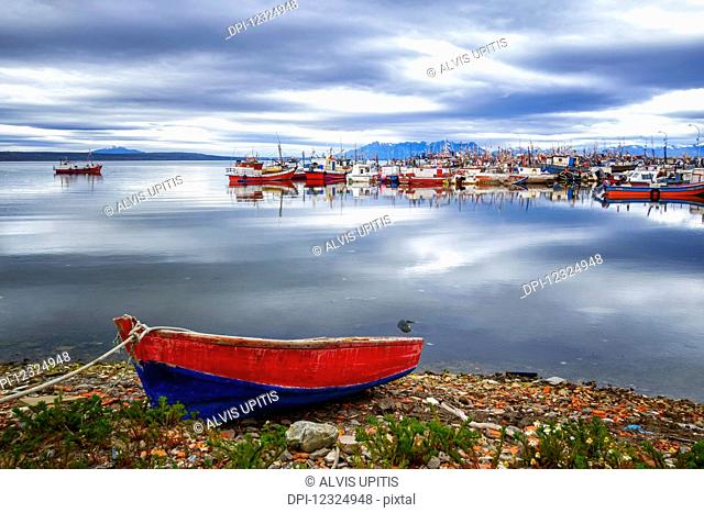 Fishing boats in a harbour, Chilean Patagonia; Puerto Natales, Ultima Esperanza, Chile