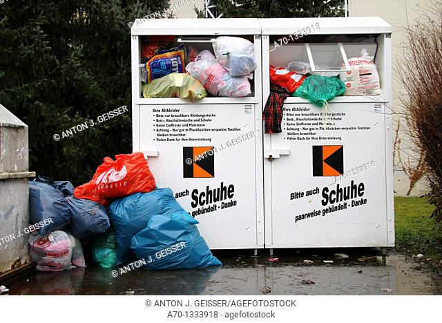 Clothing and shoes recycling collection containers