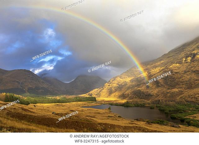 A rainbow over Glen Etive in Scotland captured during a spell of sunlight on an afternoon in early November
