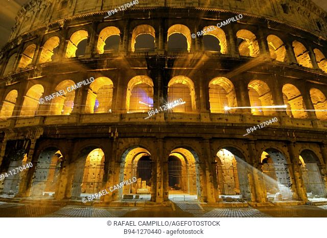 Roman Coliseum. Started between 70-72 AD under emperor Vespasian, completed in 80 AD under Titus. Rome, Italy