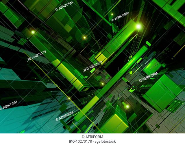 Abstract green geometric grid and block pattern