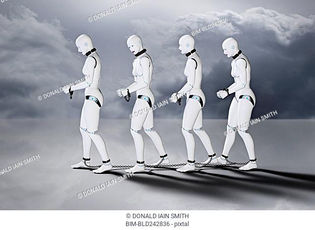 Robot women slaves in chains