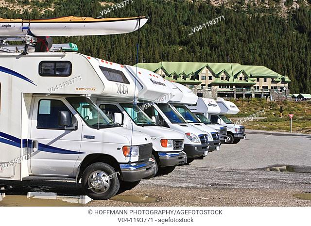 Row of mobile homes at a parking lot on the Icefield Parkways in the Jasper National Park, Alberta, Canada