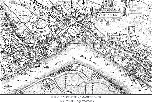 Historic drawing, city map of Westminster with the River Thames, 17th century, a district of London, England, Europe