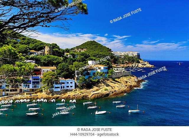 Spain, Europe, Catalonia, Girona Province, Costa Brava Coast, Begur, Sa Tuna Beach, beach, begur, blue, boats, cliff, coast, Costa Brava, girona