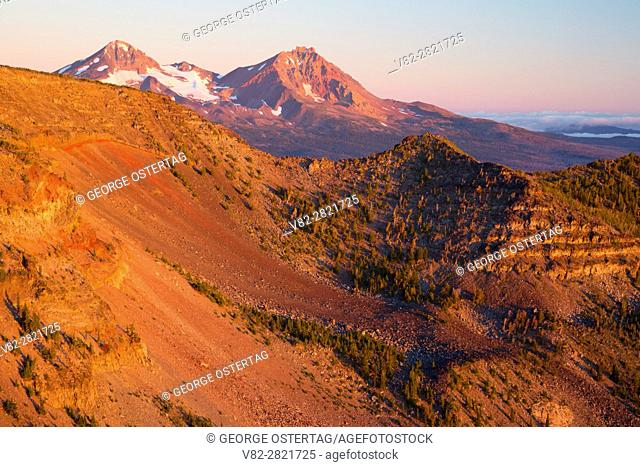North and Middle Sister from Tam McArthur Rim, Three Sisters Wilderness, Deschutes National Forest, Oregon