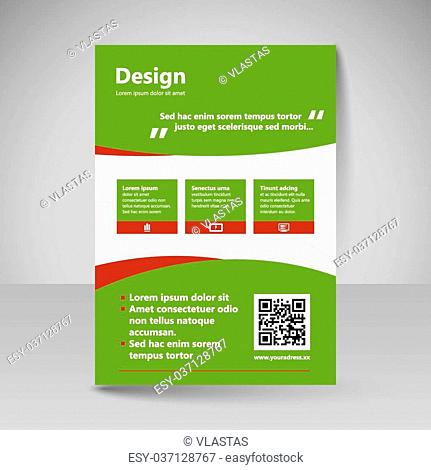 Template for brochure or flyer. Editable site for business, education, presentation, website, magazine cover