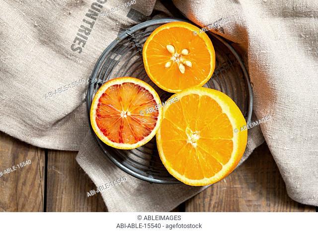 Close up of Halved Oranges