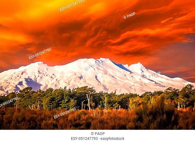 Beautiful Mount Ruapehu mountain, North Island, New Zealand