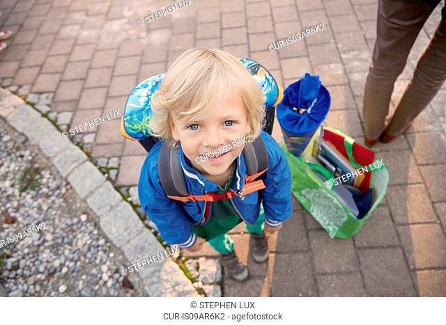 Portrait of young boy on first day of school, Bavaria, Germany