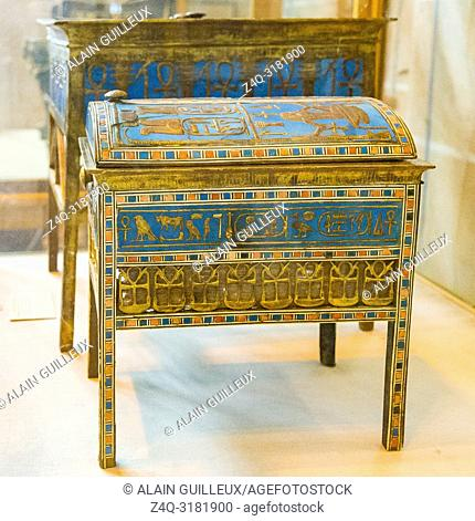 Egypt, Cairo, Egyptian Museum, from the tomb of Yuya and Thuya in Luxor : Wooden and gilded jewel box, with the cartouches of king Amenhotep III