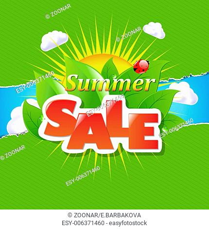 Green Torn Paper Borders And Summer Sale Banner